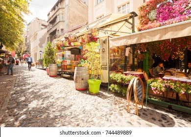 BELGRADE, Serbia - 4 Sept: Tourists enjoy the cafes of Skandarlija (Skandarska), Belgrade's bohemian quarter, on 4 Sept 2017.