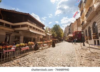 BELGRADE, Serbia - 4 Sept: Tourists enjoy the cafes of Skandarlija (Skandarska), Belgrade's bohemian quarter, on 4 Sept 2017.