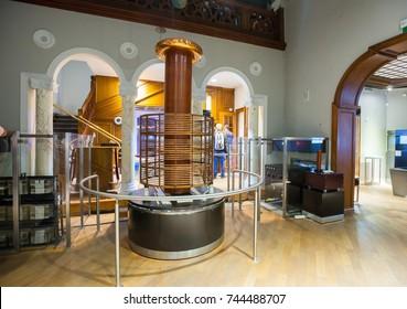 BELGRADE, Serbia - 5 Sept: Large Tesla Coil at the Nikola Tesla Museum in Belgrade on 5 Sept 2017.