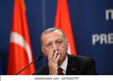 BELGRADE, SERBIA - 7 OCTOBER 2019: Turkey's President Recep Tayyip Erdogan during his two-day official visit to Serbia