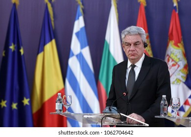 Belgrade, Serbia - 9 December 2017: Romanian Prime Minister Mihai Tudose talks to the media at a press conference during the Regional leaders meeting in Belgrade.