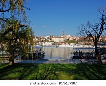 BELGRADE, SERBIA - APRIL 02, 2010. Old part of city Belgrade. View from left bank of River Sava near confluence of Dunav.