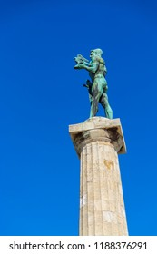 Belgrade, Serbia - April 04, 2015: Victor Monument in Kalemegdan Fortress in Belgrade. The Belgrade Fortress and the Kalemegdan Park together represent a cultural monument of exceptional importance