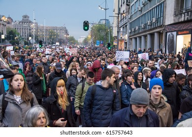 Belgrade, Serbia - April 05,2017: Belgrade students manifestation on April, 05 2017. Students took to the streets to protest against Serbian government.