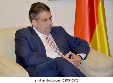 Belgrade, Serbia. April 12th 2017 - German Foreign Minister Sigmar Gabriel in official visit to Serbia. Serbian Foreign Minister Ivica Dacic welcomes Gabriel at Belgrade airport.