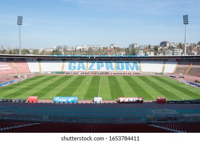 Belgrade, Serbia - April 13, 2015. Rajko Mitic Stadium in Belgrade. Home of the most trophy football club CRVENA ZVEZDA.