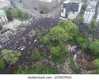 "BELGRADE, SERBIA - APRIL 13, 2019: Protest ""svi kao jedan"" against regime, aerial drone video 4K , 1od5miliona"