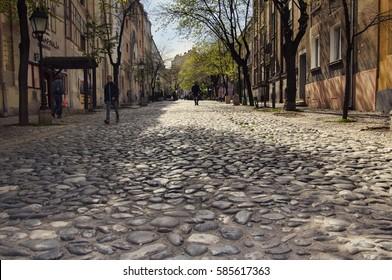 BELGRADE, SERBIA - APRIL 14, 2015 - The old street Skadarlija is the main bohemian place of Belgrade, cobblestone