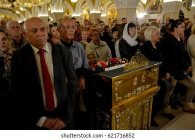 Belgrade, Serbia. April 16th 2017: Easter service in Orthodox Cathedral of Saint Sava in Belgrade