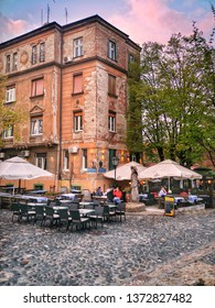 Belgrade, Serbia - April 17, 2019: Restaurants on the old street Skadarlija; a vintage street with famous restaurants, the main bohemian quarter of Belgrade, similar to Paris Montmartre.