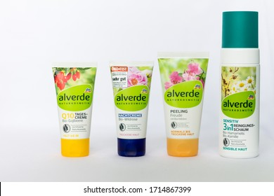 Belgrade, Serbia - April 18, 2020: Alverde Nature cosmetics Day and Night face cream. Alverde is brand of dm-drogerie markt, German a chain of retail stores that sells cosmetics and healthcare items.