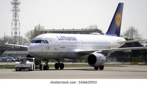 BELGRADE, SERBIA - APRIL 1st 2019: Lufthansa Airbus A-319 before takeoff on Nikola Tesla airport, April 1st 2019 in Belgrade