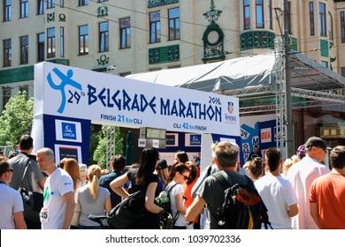 Belgrade, Serbia: april 2, 2016 -  Belgrade Marathon starting point.
