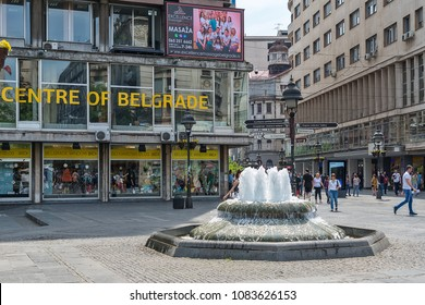 Belgrade, Serbia April 24, 2018: Small fountain located on the Square of the Republic (Knez Mihailova Street).