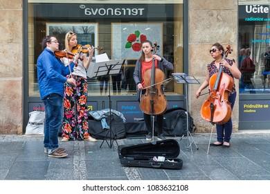 Belgrade, Serbia April 24, 2018: Street musicians in Knez Mihailova Street in Belgrade.