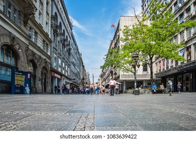 Belgrade, Serbia April 24, 2018: Knez Mihailova street. This is main pedestrian street in Belgrade. Street is very popular and crowded with tourists.
