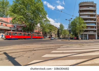 Belgrade, Serbia April 24, 2018: Old red tram cars on the streets of Belgrade