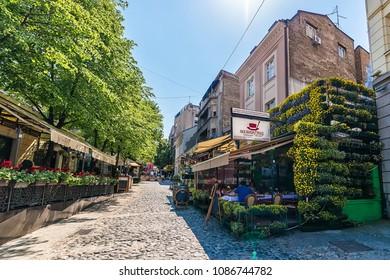Belgrade, Serbia April 24, 2018: Skadarlija in Belgrade. Skadarlija (Skadarska street) is a famous street, an urban neighborhood and former municipality of Belgrade. This is bohemian quarter.