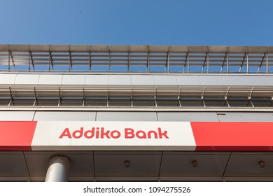 BELGRADE, SERBIA - APRIL 29, 2018: Logo of Addiko Bank on their local headquarters for Serbia. Formerly Hypo Alpe Adria, Addiko is an Austrian banking group spread in Southeastern Europe