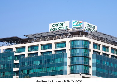 BELGRADE, SERBIA - APRIL 29, 2018: Logo of Credit Agricole on their local headquarters for Serbia. Credit Agricole Srbija is one of the French leading retail banks, spread in Europe