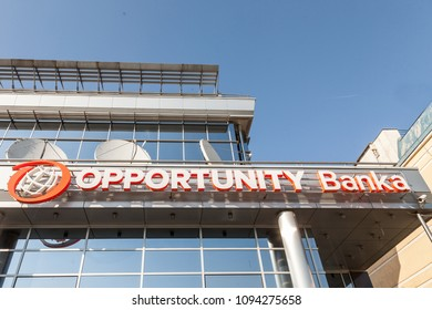 BELGRADE, SERBIA - APRIL 29, 2018: Logo of Opportunity Bank on their local headquarters for Serbia. Opportunity International is an NGo specialized in micro loans and microfinance