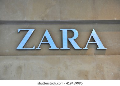 BELGRADE, SERBIA - APRIL 30: Logotype of Zara flagship store in Belgrade on April 30, 2016. Zara is a Spanish world famous clothing retailer.