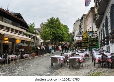 Belgrade, Serbia, April 30th, 2017:  Restaurants in Skadarska street in Skadarlija, main bohemian quarter of Belgrade, Serbia