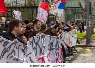 BELGRADE, SERBIA - APRIL 8, 2017: Protesters at the stereets of Belgrade during anti- government rally against election of Prime Minister Aleksandar VUCIC as president.