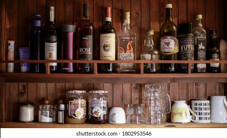 Belgrade, Serbia, Aug 10, 2020: Kitchen stuff on wooden shelf