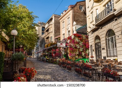 BELGRADE, SERBIA - AUG 10: Skadarlija (Skandarska), Belgrade's bohemian quarter full of cafes and restaurants on 10 Aug 2019 in Serbia
