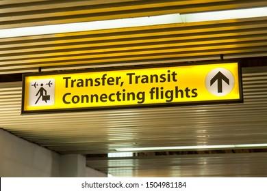 BELGRADE, SERBIA, August 10, 2019. Navigation element at Belgrade International Airport
