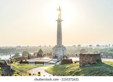 BELGRADE, SERBIA , AUGUST 12 2018: Kalemegdan fortress landscape with view on usce. Tourist people in Belgrade visiting statue of winner. Belgrade landscape
