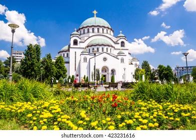 BELGRADE, SERBIA - AUGUST 14, 2015: Church of Saint Sava - Serbian Orthodox church located on the Vra��ar plateau in Belgrade
