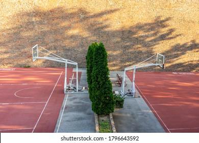 Belgrade / Serbia - August 14, 2020: Basketball Club Red Star Belgrade (Crvena Zvezda) basketball open court in Belgrade fortress Kalemegdan park