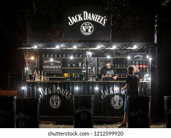 BELGRADE, SERBIA - AUGUST 17, 2018: Jack Daniel's logo on the terrace of a sponsored bar in Belgrade. Jack Daniel's is an American Whiskey Distillery from Tennesse, exporting worldwide