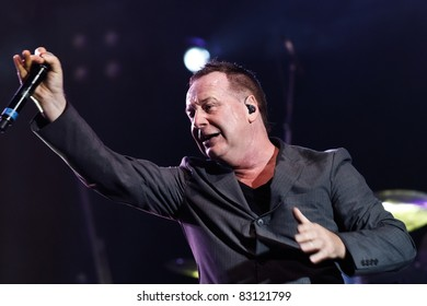 "BELGRADE, SERBIA - AUGUST 18 : Scottish pop rock music band ""SIMPLE MINDS"" performs at the Belgrade BeerFest 2011 at ""Usce"" on August 18, 2011 in Belgrade, Serbia."