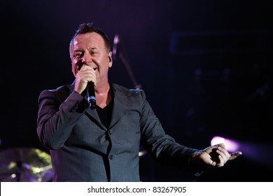 "BELGRADE, SERBIA - AUGUST 18 : Scottish pop rock music band ""SIMPLE MINDS"" performs onstage at Belgrade BeerFest 2011 at ""Usce"" August 18, 2011 in Belgrade, Serbia."