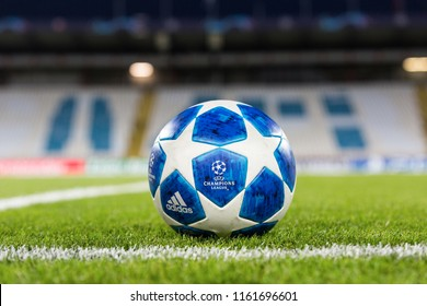 BELGRADE, SERBIA - august 21, 2018: Official UEFA Champions League match ball on the grass during UEFA Champions League game between Red Star Beograd and Red Bull at Crvena Zvezda stadium in Serbia