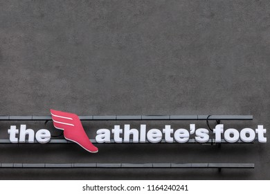 BELGRADE, SERBIA - AUGUST 21, 2018:  The Athelete's foot logo on their main shop for Belgrade. Also known as TAF, it is a swiss global retailer of athletic inspired footwear, apparel and accessories