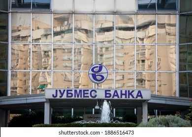 BELGRADE, SERBIA - AUGUST 21, 2018: Jubmes Banka logo on their main office. Jubmes banka was a Serbian bank, providing commercial and investment banking, now owned by Alta Pay.