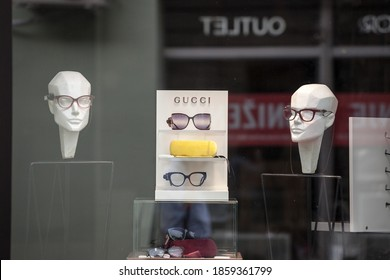 BELGRADE, SERBIA - AUGUST 26, 2020: Gucci logo in front of their main boutique selling glasses eyewear and sunglasses. Gucci is a luxury fashion designer, manufacturer & retailer from Italy.