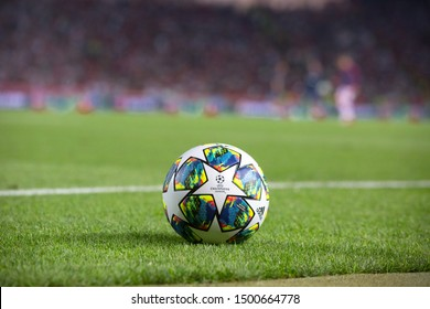 BELGRADE, SERBIA - august 27, 2019: Official UEFA Champions League match ball on the grass during UEFA Champions League game between Red Star Beograd and Young Boys at Crvena Zvezda stadium in Serbia
