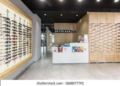 BELGRADE, SERBIA - AUGUST 28, 2019: Interior of an empty optical store Optiplaza