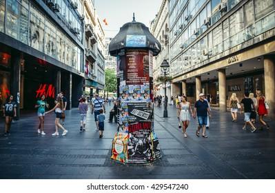 Belgrade, Serbia - August 29, 2015. People walks at Knez Mihailova (english: Prince Michael) Street in Belgrade city