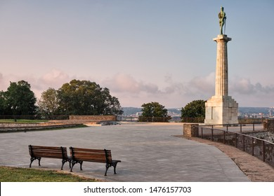 Belgrade / Serbia - August 4, 2019: Plateau on Belgrade fortress with Victor monument commemorating Allied victory in the First World War in Belgrade, Serbia. Victor monument is a symbol of Belgrade.