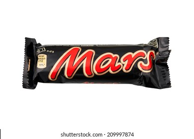 BELGRADE, SERBIA - AUGUST 9, 2014: Mars bar isolated on white background. Mars bar is  chocolate bar manufactured by Mars Inc, created in 1932 by Forrest Mars.