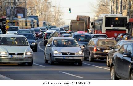 BELGRADE, SERBIA - CIRCA FEBRUARY 2019: Traffic jam in the rush hour, circa February 2019 in Belgrade