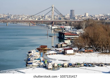 BELGRADE, SERBIA - CIRCA JANUARY 2017: Winter aerial view on Belgrade city, river Sava circa January 2017 in Belgrade
