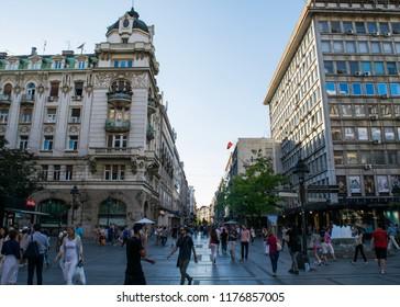 BELGRADE, SERBIA - CIRCA JULY 2017: Unidentified people walk through Republic Square in the city centre