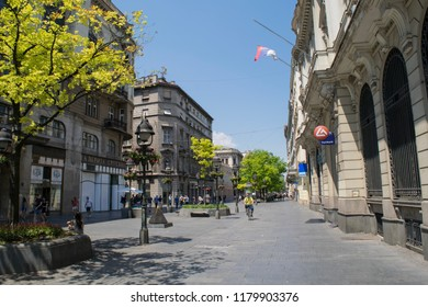 BELGRADE, SERBIA - CIRCA JULY 2017: Unidentified people walk through the pedestrian street of Kneza Mihaila